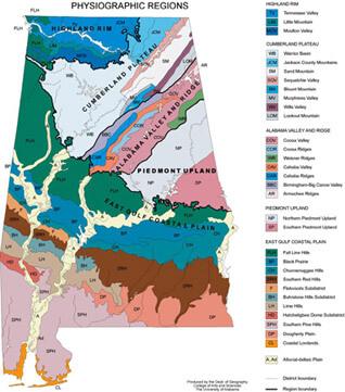 Alabama Physiographic Map