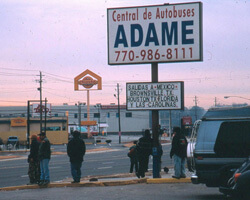 Adame Bus Station in Chamblee with routes from Atlanta to cities and towns in Mexico. Chamblee, Georgia. Photo by Mary Odem, 2001