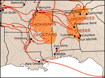 Map of Main Indian Removal Routes from James W. Clay, Paul D. Escott, Land of the South (Birmingham, AL: Oxmoor House, 1989).