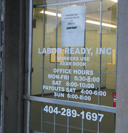 Terry Easton, Front door at Labor Ready labor agency. Decatur, Georgia, October 2004.