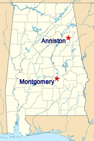 Anniston and Montgomery, Alabama Map