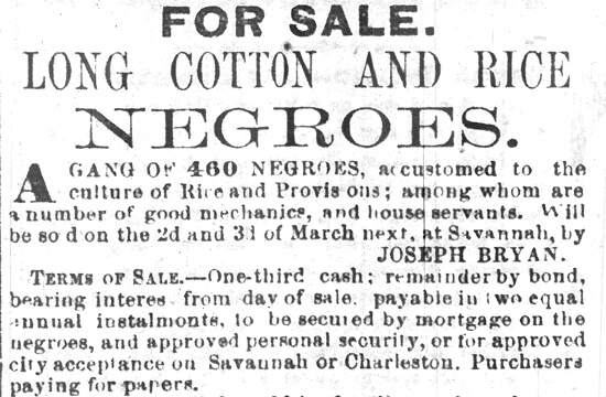 "A detail from Joseph Bryan's Initial Advertisement for the Butler ""Sale of Slaves,"" The Savannah Republican, Tuesday, February 8, 1859."