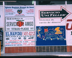 Signs outside of the Buford Highway Flea Market. Chamblee, Georgia. Photo by Mary Odem, 2001