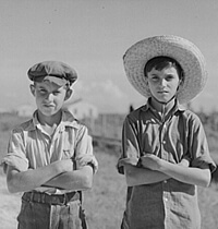 Marion Post Walcott, Library of Congress, Prints & Photographs Division FSA-OWI Collection Reproduction Number: LC-USF34-054253-D DLC, Cajun children on Terrebonne Project, Schriever, Louisiana, 1940.