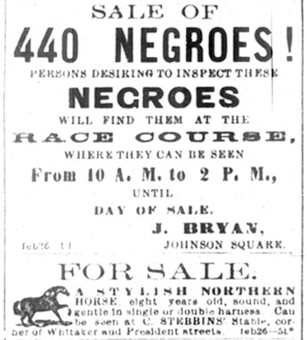 """Joseph Bryan's Advertisement for """"Sale of Slaves"""" in The Savannah Daily Morning News, February 26, 1859."""