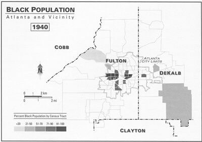 Black Population: Atlanta and Vicinity, 1940 Kevin Kruse, White Flight: Atlanta and the Making of Modern Conservatism Princeton, NJ: Princeton University Press, 2005.