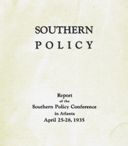 Title page and list of delegates from Southern Policy Committee's Report of the Southern Policy Conference, 25-28 April 1935.