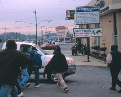 Day Laborers on Buford Highway. Chamblee, Georgia. Photo by Mary Odem, 2001