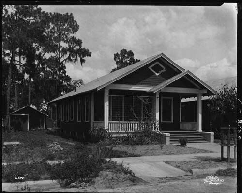 Burgert Brothers, Residence at 2719 Jefferson Street, single-story wood frame, shotgun interior full front porch with gable and trellis, Tampa, Florida. Catalog No.: PA 5780.