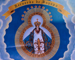 Image of Our Lady of Suyapa, the patron saint of Honduras, in the Misión Católica. Doraville, Georgia. Photo by Mary Odem, 2001