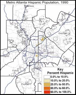 Metro Atlanta Hispanic Population, 1990, United States Census Bureau