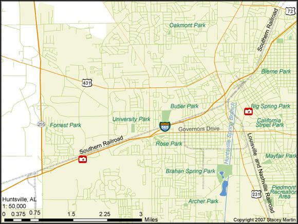 Stacey Martin, map of Huntsville, Alabama, 2007.