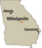 Map of Milledgeville, Georgia.