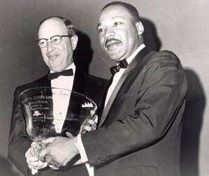 Jacob Rothschild and Martin Luther King, Jr. at the Nobel Peace Prize dinner, January 1965.