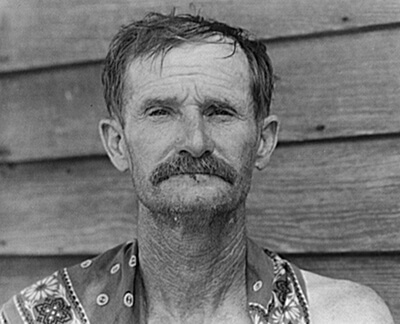 Walker Evans, Bud Fields, cotton sharecropper, Hale County, Alabama, ca. 1936. Library of Congress, Prints and Photographs Division, FSA-OWI Collection, LC-USF342- 008145-A.