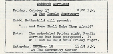 Excerpt from The Temple Bulletin, October 16, 1958.