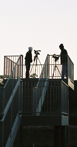 James Peck, Marty Garner and Shenid Bhayroo filming at Avery Island, Louisiana, 2006.