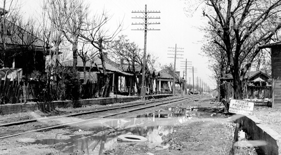 View of Stringtown before the construction of Central Expressway, 1947, courtesy of the Dallas Public Library