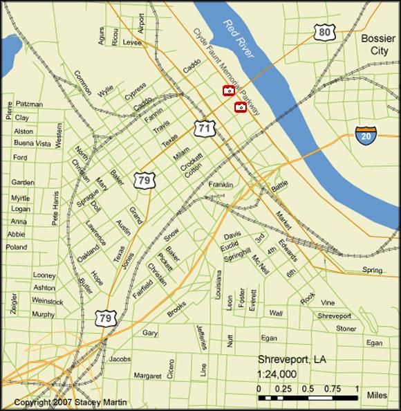 Stacey Martin, map of Shreveport, Louisiana, 2007.