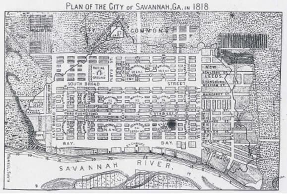 S. Howell, Plan of the City of Savannah, Georgia, 1818.