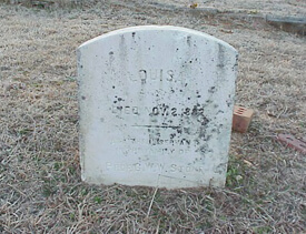 "Mark Auslander, Headstone reading ""Louisa. Died Nov. 2, 1882 Faithful servant of Professor G.W.W. Stone"" (east face), Oxford City Cemetery, Oxford, Georgia, 2000."