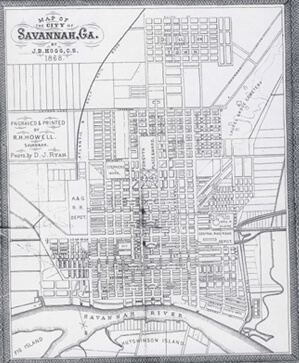 J. B. Hogg, Map of Savannah City Limits, 1868.