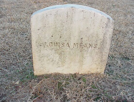 "Mark Auslander, ""Louisa Means"" headstone, on which is inscribed her full married name (west face), Oxford City Cemetery, Oxford, Georgia, 2000."