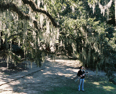 James Peck, Mercer Hathorn on location in Jungle Gardens, Avery Island, Louisiana, 2006.