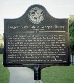 "Kwesi Degraft-Hanson, Marker commemorating ""The Weeping Time,"" Savannah, Georgia, July 2008."