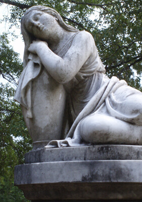 Mark Auslander, Memorial statue to Carrie Maude Pinson Cleveland (1834-1860) in Childers Chapel Cemetery, Summerfield, Alabama, 2008.