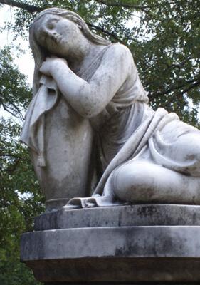 Mark Auslander, Memorial statue to Carrie Maude Pinson Cleveland (1834-1860) in Childers Chapel Cemetery, Summerfield, Alabama, 2008.