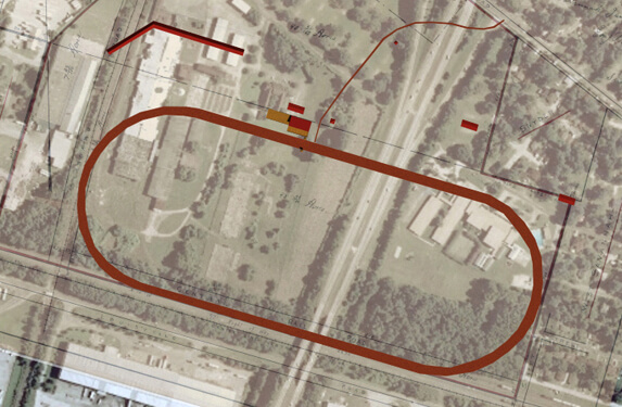 Kwesi Degraft-Hanson, Michael Page, and Kyle Thayer, Superimposition, Ten Broeck Race Track and 1907 plat map on 2007 aerial photo of site, Savannah, Georgia, 2010.