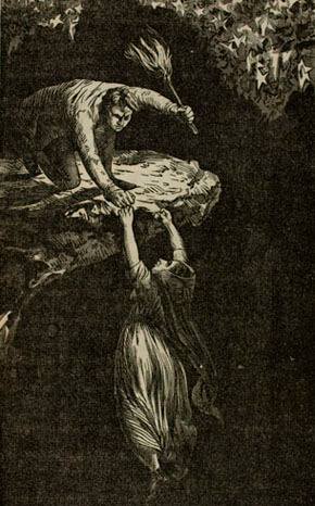 E. Elmer Barclay, Esther's leap into The Bottomless Pit, from Startling Disclosures! Mysteries Solved! On the History of Ester Livingstone, and Dark Career of Henry Baldwin, 1853.