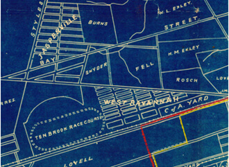 "Detail showing Ten Broeck Race Course location, from Map of part of Chatham County, State of Georgia showing property lines in the environs of Savannah, from the latest surveys,"" 1897. Courtesy of Map Collection, University of Georgia."