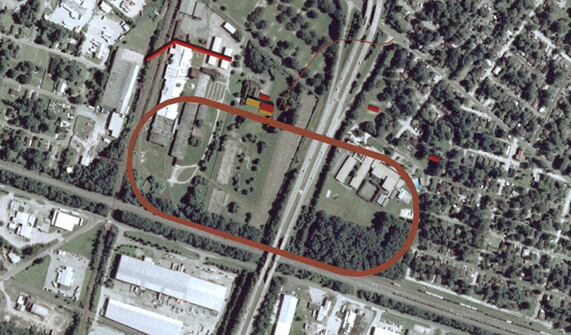 Kwesi DeGraft-Hanson, Michael Page, and Kyle Thayer, Superimposition: Ten Broeck Race Course on 2007 aerial photo of site, Savannah, Georgia, 2010.