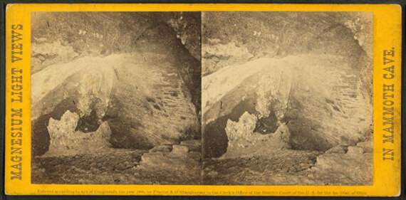 Charles Waldack, Angelica's Grotto [with little girl resting in Angelica's couch], Mammoth Cave, Kentucky, 1866.