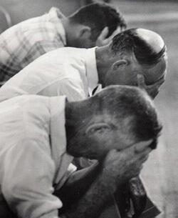 John Cohen, Men praying, Old Regular Baptist Church, KY, 1959