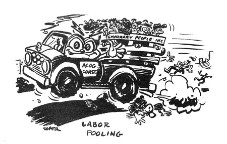 Kerry Soper, Labor Pooling, Southern Changes Vol. 18, No. 2, Summer 1996, pg. 12.  This cartoon critiques the issue of temporary workers brought in to construct and staff the Olympic Village and sporting centers then laid off after the Games' close. From S Zebulon Baker's Whatwuzit?: The 1996 Atlanta Summer Olympics Reconsidered.