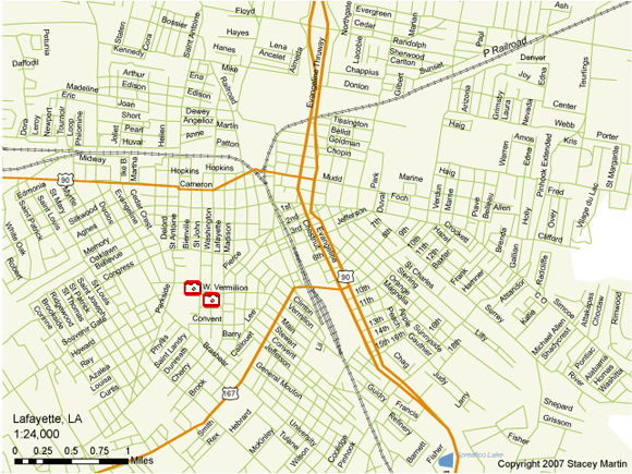 Stacey Martin, map of Lafayette, Louisiana, 2007.