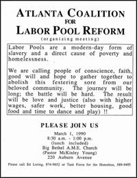 Labor pool reform meeting flyer. Atlanta, Georgia.  Flyer from Ed Loring's files, Open Door Community, Atlanta, Georgia.