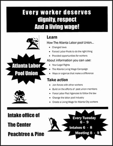 Terry Easton, Flyer for Atlanta Labor Pool Workers' Union, Atlanta, Georgia, May 2002.