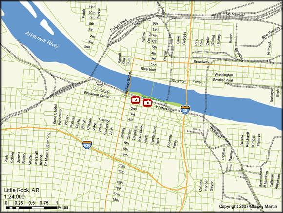 Stacey Martin, map of Little Rock, Arkansas, 2007.