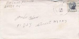 Envelope from Roscoe Halcomb, 1964