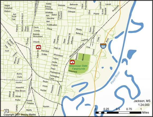 Stacey Martin, map of Jackson, Mississippi, 2007