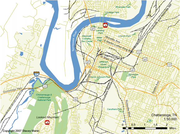 Stacey Martin, map of Chattanooga, Tennessee, 2007.