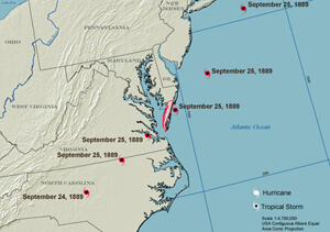 Hurricane Paths, Eastern Shore and Vicinity 1872-1928.