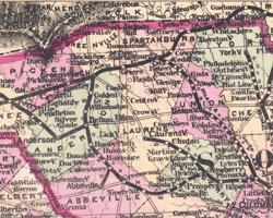 Watson's New Country Railroad and Distance Map of Alabama, Georgia and South Carolina