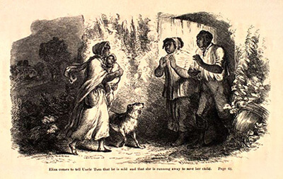 "Harriette Beecher Stowe, ""Eliza comes to tell Uncle Tom that  he is sold and that she is running away to save her child"" from  Uncle Tom's Cabin."