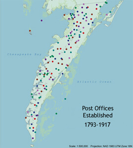 Expansion of Post Offices along the Eastern Shore from 1793-1917.