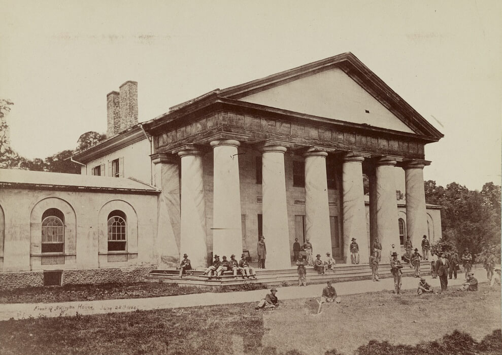 Arlington House, Virginia, June 28, 1864. Photographic print by Andrew J. Russell. Courtesy of Wikimedia Commons. Image is in public domain.